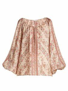 Mes Demoiselles - Borat Floral Print Silk Blouse - Womens - Pink Multi