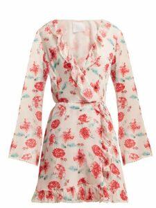 Athena Procopiou - Floral Print Silk Wrap Dress - Womens - Pink Multi