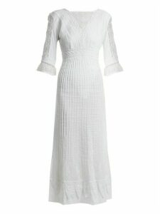 Talitha - Edwardian Floral Embroidered Cotton Dress - Womens - White