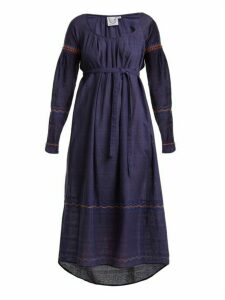 Thierry Colson - Cretan Embroidered Cotton Dress - Womens - Navy
