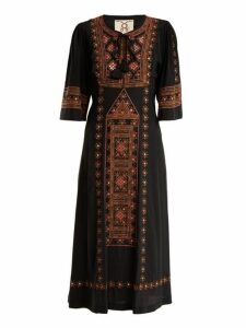 Figue - Louise Embellished Silk Dress - Womens - Black Multi
