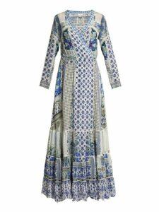 Camilla - Salvador Summer Silk Wrap Maxi Dress - Womens - Blue Multi