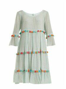 Athena Procopiou - Spring Rainbow Tassel Trimmed Tiered Silk Dress - Womens - Light Green