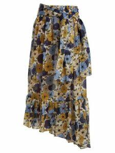 Lisa Marie Fernandez - Nicole Floral Print Asymmetric Hem Skirt - Womens - Cream Multi