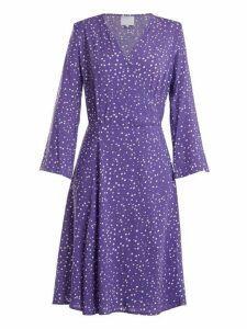 Bower - Bianca Dot Print Poplin Wrap Dress - Womens - Blue Multi