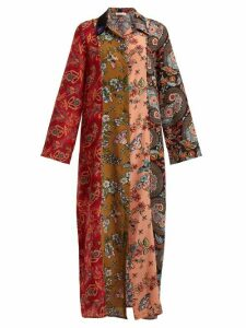 Anjuna - Augustina Panelled Silk Crepe Dress - Womens - Red Multi