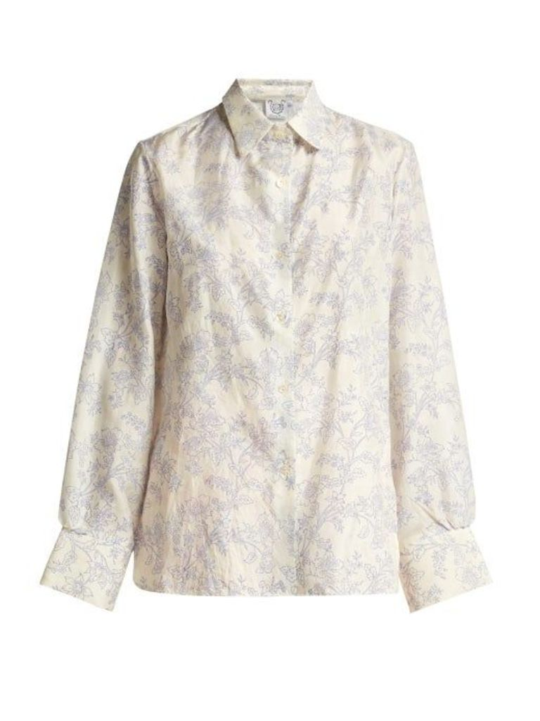 Thierry Colson - Arthur Floral Print Silk Pyjama Shirt - Womens - Blue White