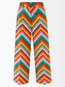 Gül Hürgel - Shawl Collar Striped Linen Dress - Womens - Blue Stripe