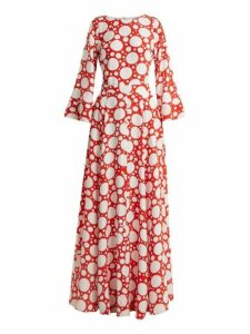 Rebecca De Ravenel - Lola Polka Dot Print Bell Sleeved Dress - Womens - Red Multi