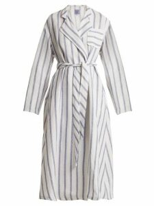 Thierry Colson - Biarritz Striped Linen Blend Coat - Womens - Blue Stripe