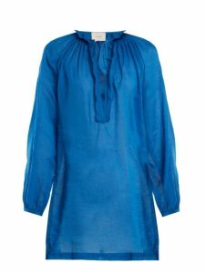 On The Island - Floreana Cotton Voile Dress - Womens - Blue