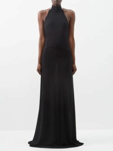Emilia Wickstead - Safron Halterneck Cloqué Mini Dress - Womens - Light Blue