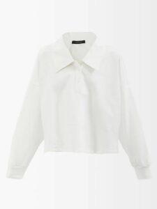 Gül Hürgel - One Shoulder Striped Linen Dress - Womens - Blue Stripe