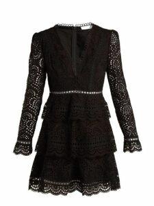Zimmermann - Tali Embroidered Cotton Dress - Womens - Black