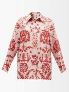 D'ascoli - Misha Floral Print Balloon Sleeve Silk Dress - Womens - Black Print