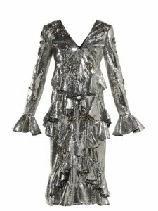 Erdem - Desiree Ruffled Sequin Dress - Womens - Silver
