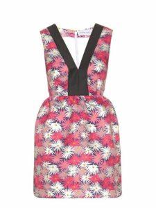 Caterina Gatta - Contrast Neckline Daisy Print Dress - Womens - Pink Multi