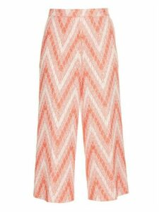 Rochas - Chevron Woven Cropped Trousers - Womens - Red White