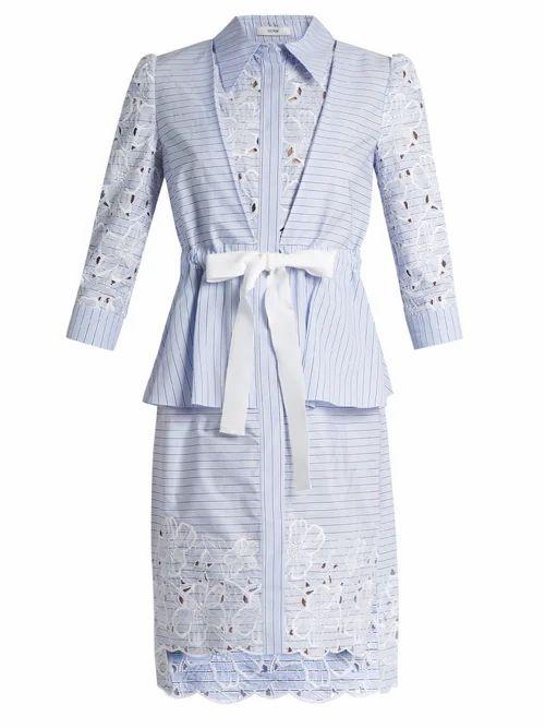 Erdem - Zuni Striped Broderie Anglaise Dress - Womens - Blue White