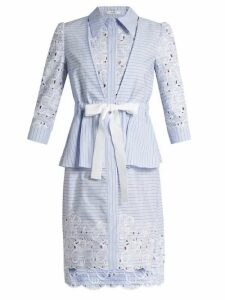 Erdem - Zuni Striped Broderie Anglaise Dress - Womens - Blue White