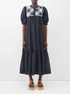 Mafalda Von Hessen - Abstract-print Silk Smock Dress - Womens - Cream Multi