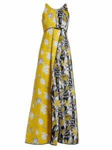 Carl Kapp - Tropical Floral Jacquard Gown - Womens - Yellow Multi