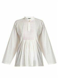 Alexachung - Mandarin Collar Smocked Linen Top - Womens - White
