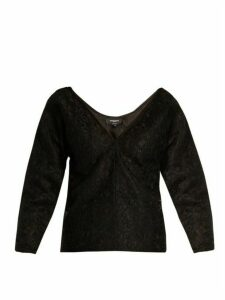 Rochas - Off The Shoulder Floral Lace Top - Womens - Black
