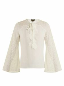 Giambattista Valli - Contrast Sleeve Silk Georgette Blouse - Womens - Ivory