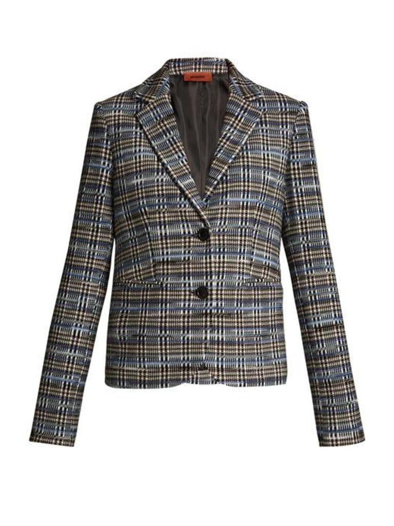 Missoni - Checked Wool Blend Knit Blazer - Womens - Blue Multi