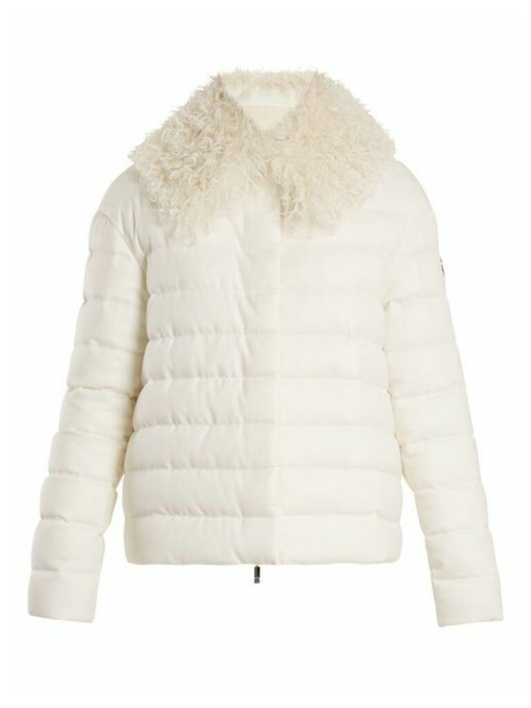 Moncler Gamme Rouge - Shearling Trimmed Quilted Down Cashmere Jacket - Womens - Cream