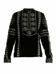 Dodo Bar Or - Maria Embroidered Velvet Top - Womens - Black Silver