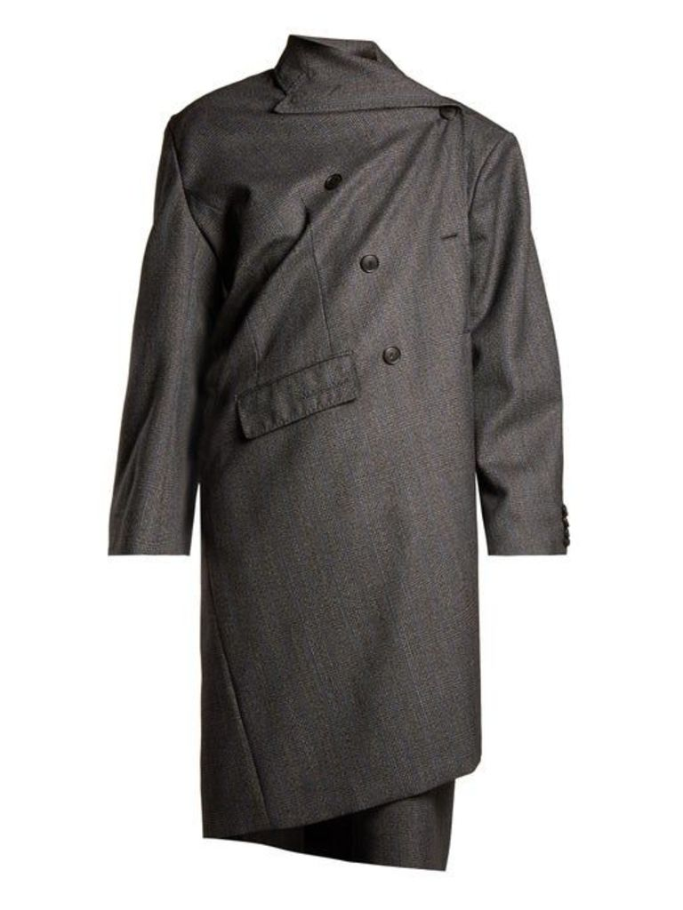 Balenciaga - Prince Of Wales Checked Asymmetric Wool Coat - Womens - Grey