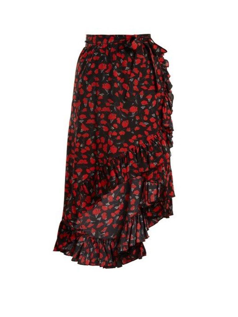Raquel Diniz - Lucy Floral Print Silk Georgette Skirt - Womens - Black Red