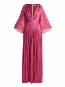 Maria Lucia Hohan - Lur Deep V Neck Silk Tulle Gown - Womens - Pink