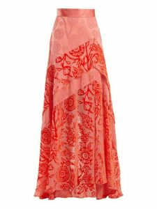 Peter Pilotto - Floral Devoré Velvet Skirt - Womens - Pink