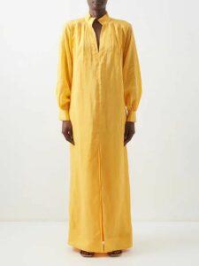 Preen By Thornton Bregazzi - Linnet Floral Print Silk Blend Lamé Midi Dress - Womens - Blue Multi