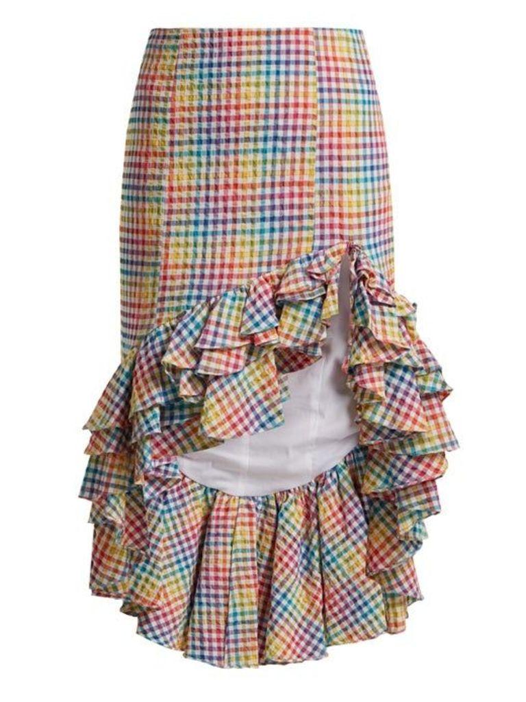 Caroline Constas - Ruffled Asymmetric Hem Gingham Skirt - Womens - Multi
