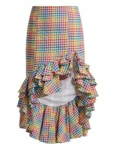 Caroline Constas - Ruffled Asymmetric Hem Gingham Skirt - Womens - Multi