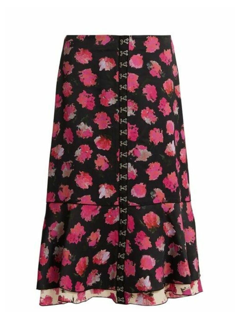 Proenza Schouler - Carnation Print Fluted Midi Skirt - Womens - Black Pink