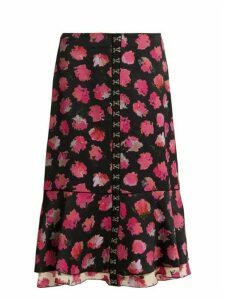 Proenza Schouler - Carnation Print Fluted Midi Skirt - Womens - Black Pink