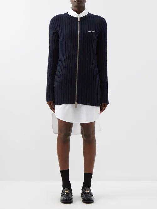Raey - Split Side Wool Blend Twill A Line Midi Skirt - Womens - Navy