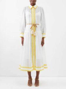 Borgo De Nor - Lily Marquesa Floral Print Silk Dress - Womens - Red Multi