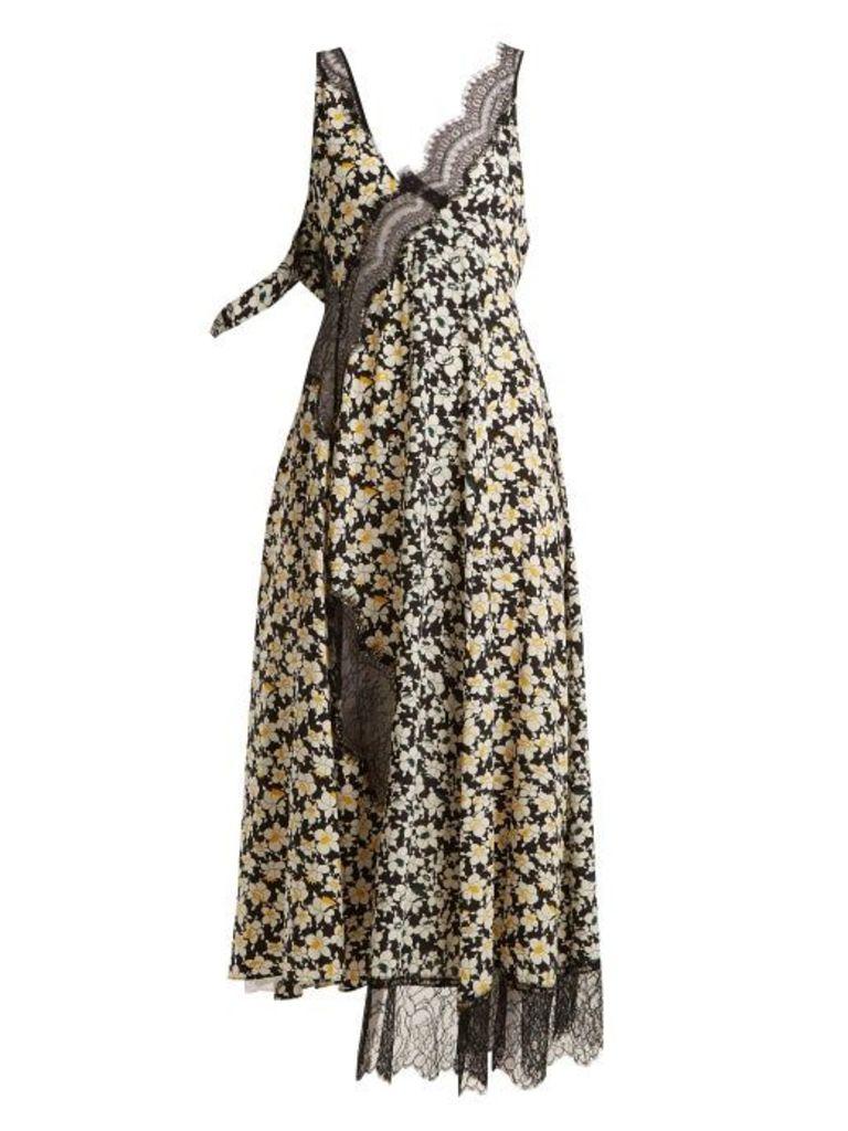 Joseph - Bronte Floral Print Contrast Panel Dress - Womens - Black Multi