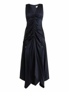Peter Pilotto - Ruched V Neck Satin Dress - Womens - Navy