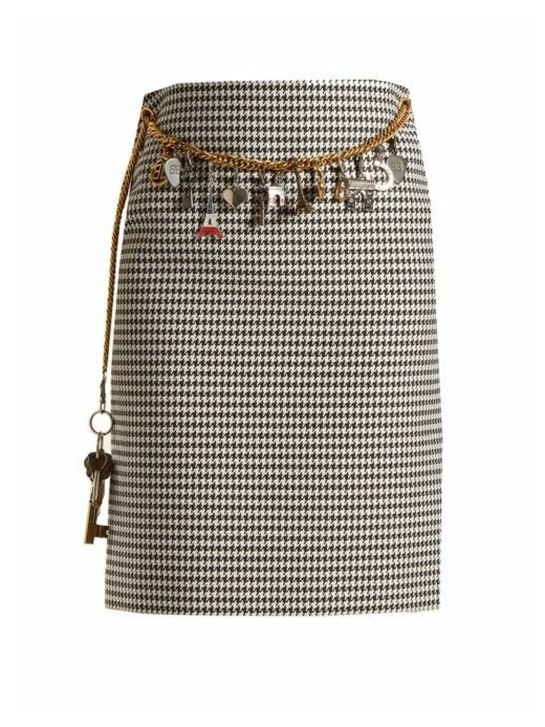 Balenciaga - Houndstooth Chain Belt Pencil Skirt - Womens - Black White