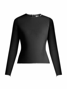 Balenciaga - Perforated Neoprene Top - Womens - Black