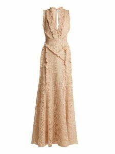 Altuzarra - Medina Valencienne Lace Ruffle Trimmed Dress - Womens - Beige
