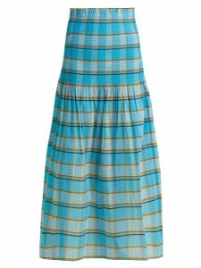 Diane Von Furstenberg - Horizon Checked Skirt - Womens - Blue Print