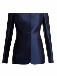 Gabriela Hearst - Dorothea Off The Shoulder Silk Blend Blazer - Womens - Blue